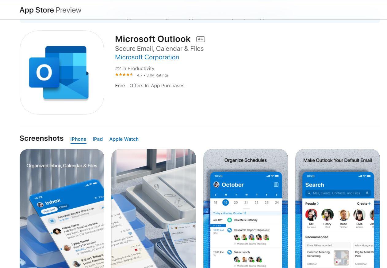 Outlook trên iPad